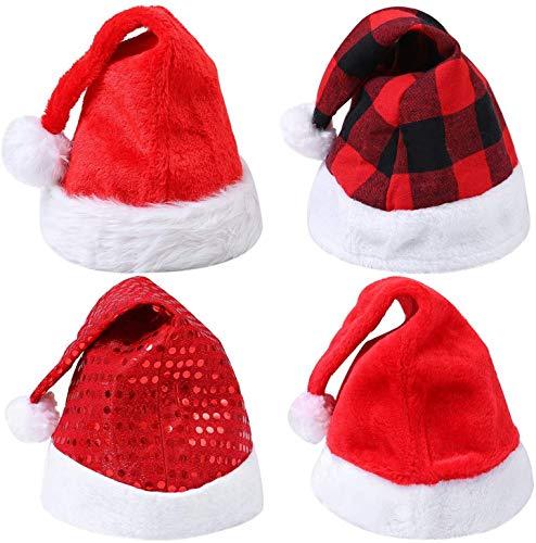 4 Piezas Navidad Santa Sombrero de Felpa Sombreros de Navidad for Fiesta de Disfraces de Navidad y Evento de Vacaciones