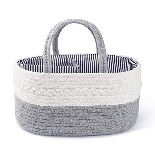 Baby-Wickeltasche, Wickel-Organizer,Aufbewahrungskorb für Babys, für Neugeborene, Windelaufbewahrungskorb für Baby, 3 Fächer, Aufbewahrungskorb für Babyzimmer, reine Baumwolle,Aufbewahrungskorb