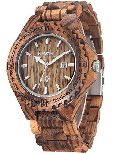 Alienwork Herren Damen Armbanduhr Quarz braun mit Holz-Armband Kalender Datum Natur-Holz