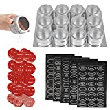 FOCCTS Magnetic Spice Tins 12, Magnetic Spice Jars Containers with Shaker Lids, Stainless