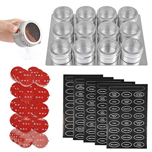 FOCCS Juego de 12pcs Tarros de Especias Magnéticos de Acero Inoxidable Juego de Tanque de Almacenamiento para Condimentos Tapa Transparente con 5 Hojas de Etiquetas de Especias + 12 × 3M Adhesivo