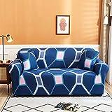 Funda de Sofá Elástica 1/2/3/4 Plazas Cubre Sofas Universal 4 Plazas: 235-300 cm Poliéster Spandex Protector Cubierta de Muebles Cuadrado Azul