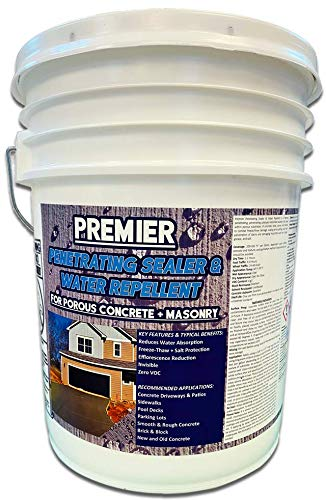 Premier Reactive Penetrating Sealer & Water Repellent - Clear Water Based Sealer Used for All Porous Concrete and Masonry