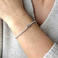 Silverly Women's .925 Sterling Silver Skull Ball Beaded Charm Adjustable Stretch Bracelet #4