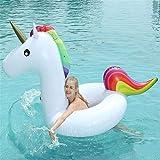 2PCS Hinchable Colchonetas Piscina Inflable flotador Piscina Gigante Inflable Unicornio Flotador Juguete Anillo Natación Verano Anillo Natación Balsa Agua Inflable Juguete Piscina White-210*90*100CM