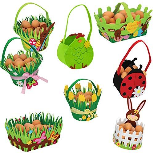 Colour-Sream 8er Set Osterkörbchen Osternest Filz Ostern Korb Geschenk Deko Frühling Blumen