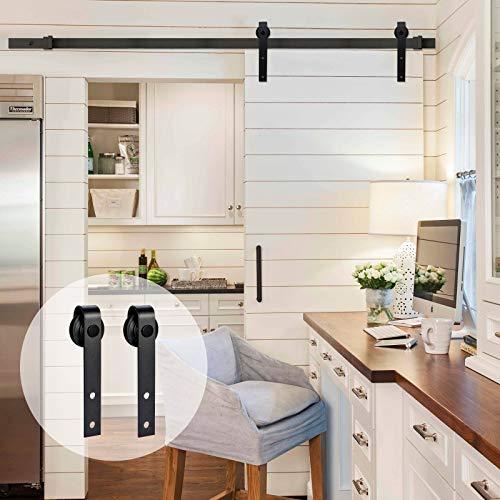 AMC Funiture - Kit de puerta corredera de madera de granero para una sola puerta suave y silenciosa, fácil de instalar, superficie negra de forma plana (6 pies, estilo clásico)