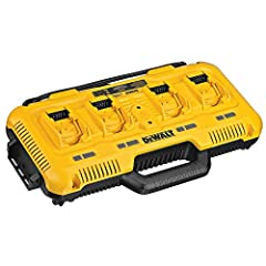 Simultaneous charger: all ports charge at the same time Charges 12V max*, 20V max*, and flexvolt® 20V/60V max* batteries 8 amps output per port (simultaneously) Charges (4) DCB204 battery in 40 minutes Charges (4) DCB606 battery in 60 minutes