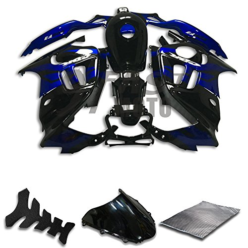 9FastMoto Fairings for honda 1997 1998 CBR600F3 CBR600F 97 98 CBR 600 F3 Motorcycle Fairing Kit ABS Injection Set Sportbike Cowls Panels (Black & Blue) H1045