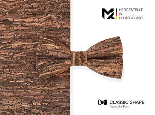 Hergestellt in Deutschland | MAY-TIE Herren Fliege | 100% Kork | Style: Holz Braun | Korkfliege gebunden und stufenlos verstellbar mit Hakenverschluss