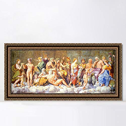 """INVIN ART Framed Canvas Art Giclee Print The Gods of Olympus by Raphael/Raffaello Sanzio Wall Art Living Room Home Office Decorations(Vintage Embossed Gold Frame,12""""x36"""")"""