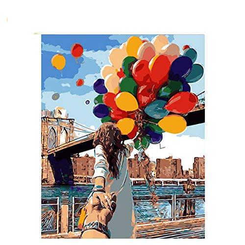 GKJRKGVF Hand In Hand Lovers Diy Schilderen Door Getallen Abstracte Ballon Olie Schilderen Op Acryl Tekenen Muur Kunst