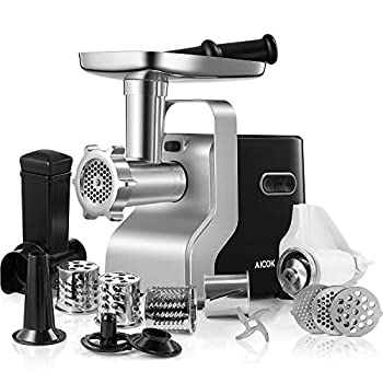 AICOK Electric Meat Grinder 2500W Max Powerful MG2950R 5-IN-1 Meat Mincer with Sausage Stuffer Vegetable Slicer Tomato Juicer Kubbe Kits 3 Grinding Plates 3-Speed 10 Pounds/Min