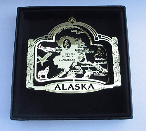 I Love My State Alaska State Brass Ornament Black Leatherette Gift Box