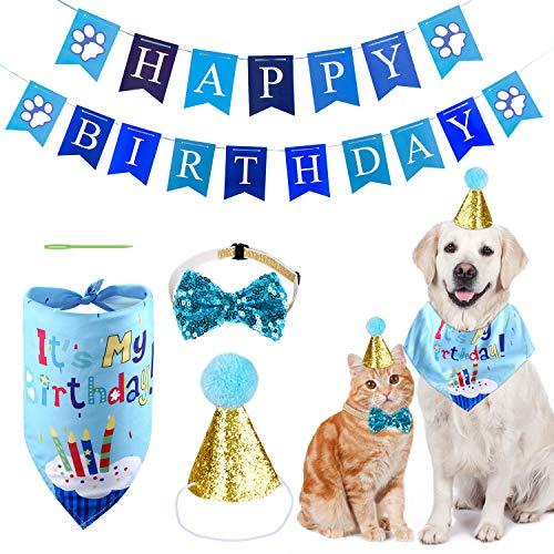 MELLIEX Decoracion Cumpleaños para Perros, Sombrero Pañuelo Banner de Cumpleaños para Perros, Regalo Set de Cumpleaños para Mascotas