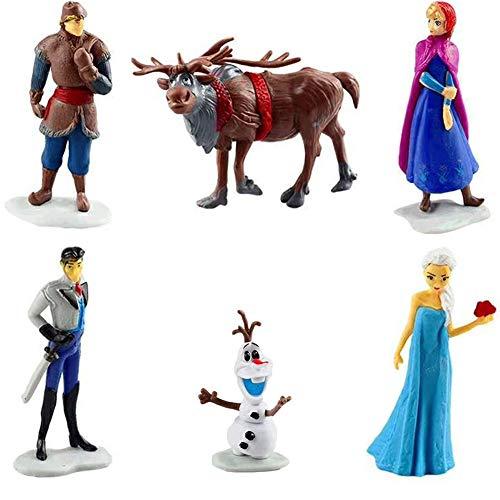 WENTS Principessa congelata Cake Topper Mini Figurine Mini Giocattoli per Bambini e Baby Shower Forniture per la Decorazione della Torta della Festa di Compleanno 6 Pezzi