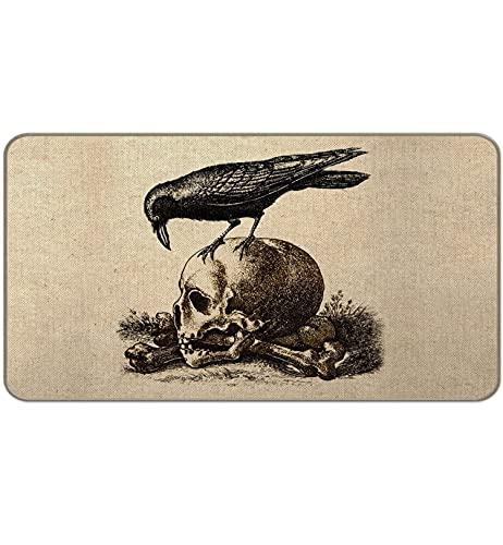 GVNSEN Bird Evil Crow Human Skull Creepy Decorative Home Doormat Indoor Outdoor, Retro Horror Style Halloween Gothic Goth Entrance Welcome Floor Mat 30 ' x 17 ' Inch
