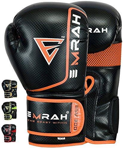 EMRAH ESV-300 Boxhandschuhe Muay Thai Training DX Leder Leder Sparring Boxsack Handschuhe Kickboxen Kampf (Orange, 12 oz)