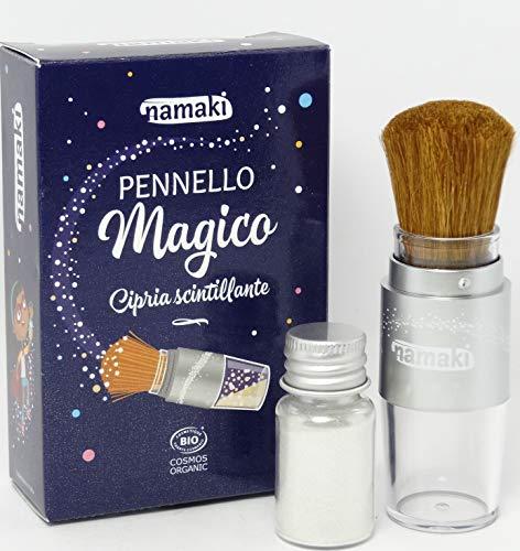 NAMAKI - Pinceau Magique avec Paillettes Argentées Bio - Maquillage pour Enfants - Poudre 100% Naturelle - Pinceau Rechargeable - Certificat Bio Cosmos