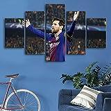 5 Piezas Creative Barcelona Sports Star Wall Posters Pinturas de Lienzo de fútbol Impresiones artísticas Imágenes Decoración de Dormitorio para niños-40x60cm/80cm/100cm