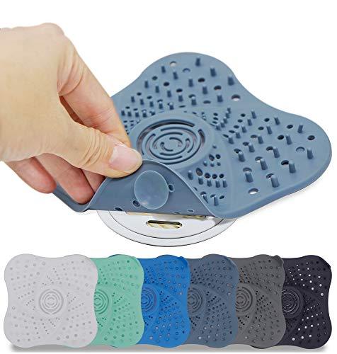 Huryfox Shower Drain Hair Catcher, Bathtub Stopper Cover, TPR Sink Drain Strainer for Bathroom, Kitchen (6Pack, 5''x5'')