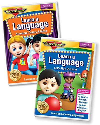Learn a Language 2 DVD Set - 6 Languages on Each DVD - Spanish, Mandarin Chinese, French, Italian, German and English Vocabulary