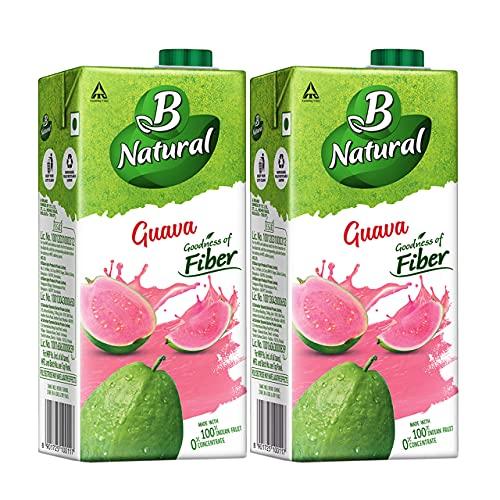 B Natural Guava Juice 1L, (Pack of 2)