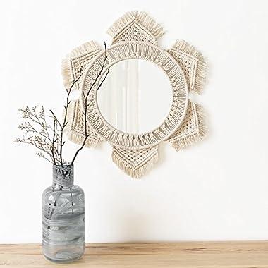 Mkono Hanging Wall Mirror Macrame Boho Home Decor