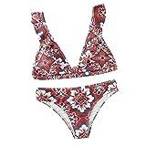 Darringls Bikinis,Impresión triángulo Sling Push-Up Bikinis Mujer 2019 Cómodo Bohemia Playa al Aire Libre Trajes de baño Mujer