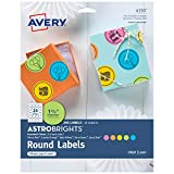 AVERY Astrobrights Round Labels with Sure Feed for Laser & Inkjet Printers, Assorted Colors, 1-2/3', 240 Labels (4330)