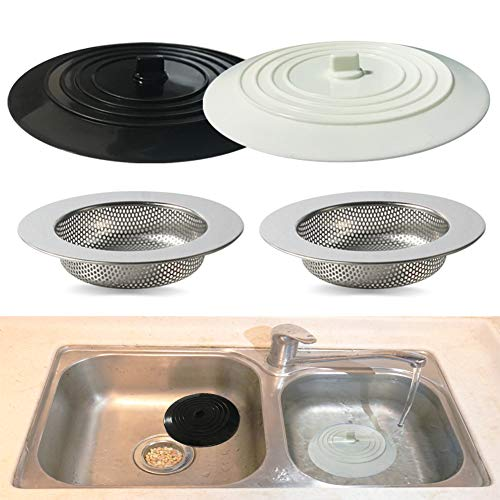 Seatery 4PCS Kitchen Sink Stopper Strainer, 6 Inch Round Large Silicone Sink Drain Cover Plug, Water Stopper, 4.5 Inch Stainless Steel Sink Strainer, Food Scraps Catcher for Kitchen
