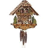 Cuco Clock Coucou Müller avec Musique, Mouvement à 1 Jour, Horloge Murale, Horloge de la Forêt-Noire, Horloge à Pendule Marron