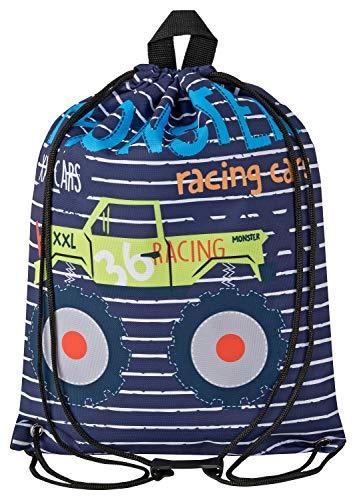Aminata BALANCE Turnbeutel Kinder Jungen Monstertruck-Motiv 34x43-cm Auto Sport-Wäsche-Beutel für Kita blau