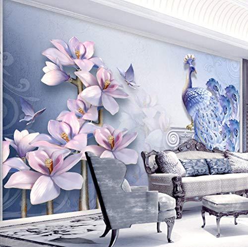 Wandbehang, woonkamer, tv-designbehang, hotelthema-achtergrond van de paus van de pleister, 3D blauw 250 cm x 175 cm.