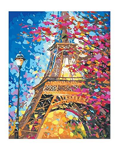 Malen nach Zahlen Paris Eiffelturm - DIY Malen nach Zahlen für Erwachsene - Set inklusive vorgedruckter Leinwand, 3 Pinseln und bunten Acrylfarben