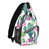 MOSISO Mini Sling Backpack, Small Hiking Daypack Travel Outdoor Casual Sports Bag, Cactus
