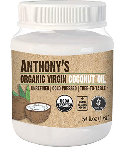 Anthony#039s Organic Virgin Coconut Oil 54 oz Unrefined Cold Pressed Tree to Table Keto Friendly