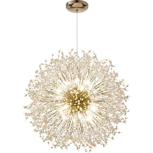 SenHuang Candelabro Moderno, candelabro de Cristal de Diente de león de Lujo Ajustable, candelabro de Cristal para Dormitorio/Sala de Estar/Cocina/Comedor (9 Luces, diámetro 50 cm)