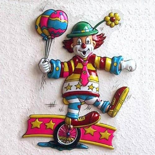 PARTY DISCOUNT Wand-Deko Mini Clown mit Einrad, ca. 40x30 cm