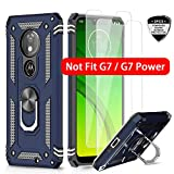 LeYi Moto G7 Play Case (Not Fit Moto G7) with Tempered Glass Screen Protector [2 Pack], Military Grade Defender Phone Case with Magnetic Car Mount Kickstand for Moto G7 Play, Blue