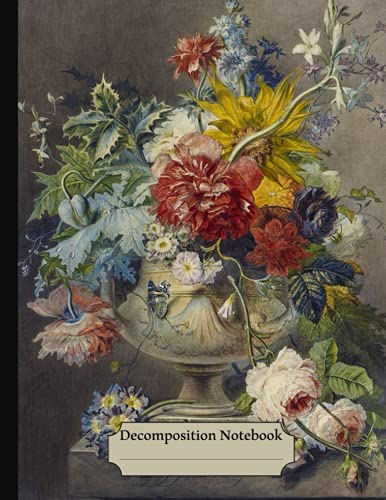 Decomposition Notebook: Flower-covered College Ruled Paper, Vintage Botanical Flowers illustration, Floral Journal - 120 Pages Wide Lined Notebook