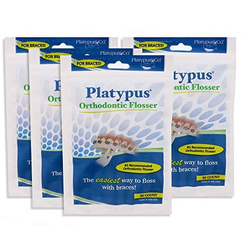 Platypus Orthodontic Flossers- Dental Floss Picks for Braces, Fits Under Arch Wire, Will Not Damage Braces, Increase Flossing Compliance, Floss Teeth in Less Than Two Minutes -30 Count Bag(Pack of 4)