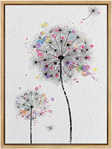 SIGNWIN Framed Canvas Wall Art A Bundle of Dandelions with Rainbow Watercolor Splashes Botanical Flower Illustrations Modern Art Chic Fun for Living Room, Bedroom, Office - 16'x24' inches