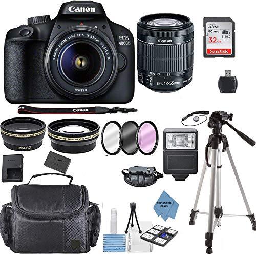 Canon EOS 4000D Digital SLR Camera w/ 18-55MM DC III Lens Kit (Black) with Accessory Bundle, Package Includes: SanDisk 32GB Card + DSLR Bag + 50'' Tripod+TOPKNOTCH Deals Cloth(International Model)