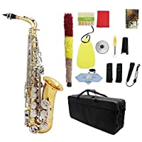 アルトサックスサックス光沢のある真鍮彫刻のEb E-フラット 初心者 上級者兼用 木管楽器 (Color : A)