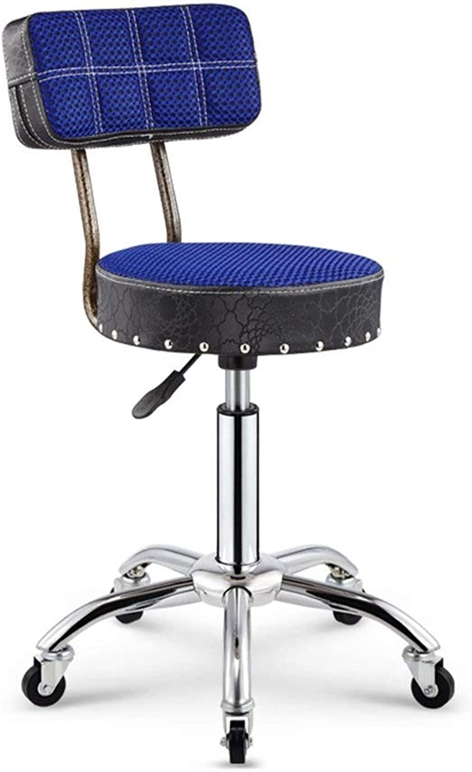 Metal Fashion Bar Stool Modern Minimalist Armchair Beauty Stool Leisure Stool Bar Stool Front Lift Stool HENGXIAO (color   bluee)