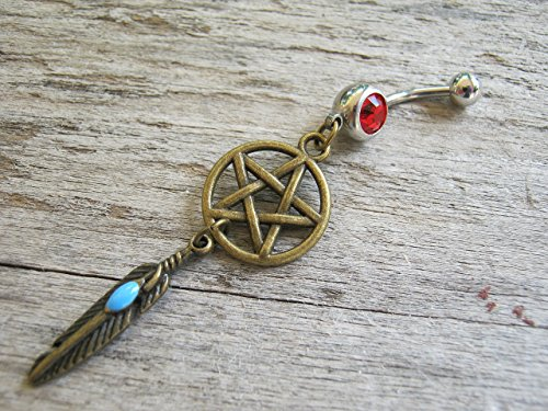 PERSONALIZED Pentacle Dreamcatcher Belly Button Ring, Antiqued BRONZE Feather Body Piercing Jewelry