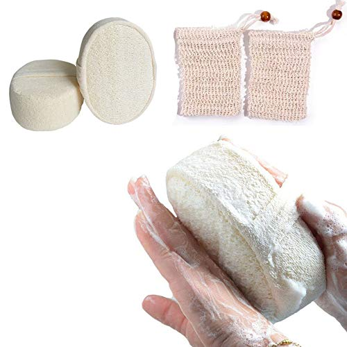2 PCS Natural Exfoliating Loofah Sponges Shower Body Scruber Pads and 2 PCS Soap Saver Bag Pouch for Men Women Bath Spa Shower (Style 2)