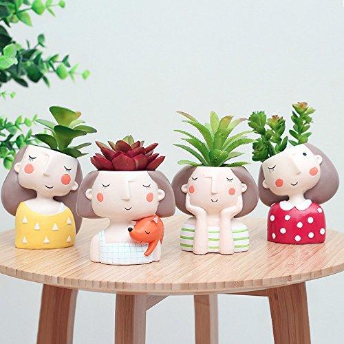 Set di 4 fioriere in stile europeo per piante grasse e piante grasse, mini vaso per bonsai cactus, decorazione per la casa