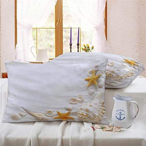 Perfecone - Funda de almohada de algodón para cama de matrimonio con concha de mar, playa, estrellas de mar y coche, 1 paquete de 30 x 30 cm